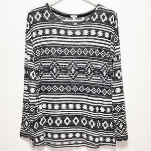 OVS Aztec Print Black Long Sleeve Sweater